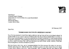 TBH SPA HBF Letter to DCLG 26 Feb 2007