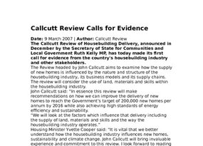 Callcutt Review Calls for Evidence 9 March 20071