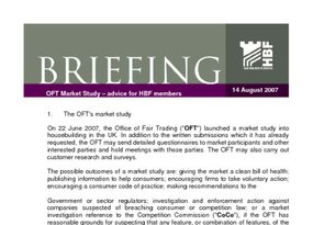 OFT Market Study   advice for HBF members 14 Aug 2007