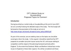 OFT Questionnaire to Trade Bodies  August 2007