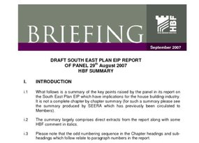 SE Plan EiP - Panel s Report - HBF Summary - Sept 07