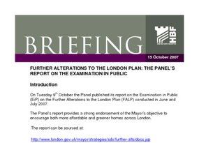 Further Alterations to the London Plan - 15 October