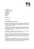 HBF Response - Water for People and the Environment  with letter  - 31 October 2007