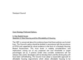 Stockport Core Strategy Issues and Options November 2007