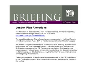Briefing - London Plan Alterations Adopted 2008