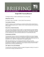 HBF Briefing - Budget 2008