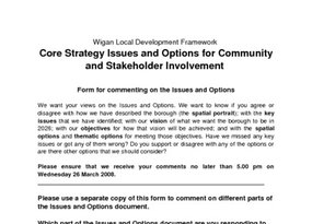 Wigan Core Strategy Issues and Options All