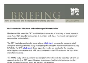 OFT Studies of Consumers and Financing for Homebuilders