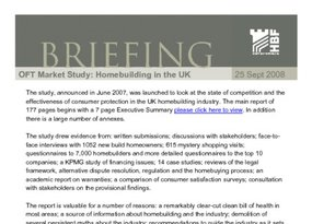 HBF Briefing - OFT Market Study of Homebuilding in the UK- 25 Sept 2008