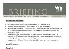 HBF Briefing - Pre-Budget Report  PBR  2009- Housing Measures