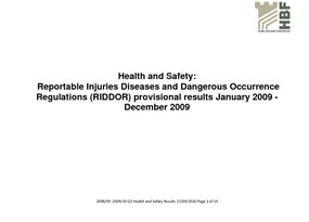 Health and Safety Q3  2009 - 2010 results