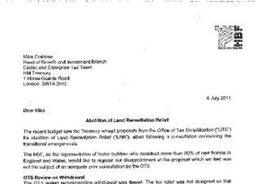Letter to Treasury Re Abolition of LRR - July 2011
