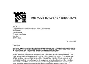 HBF submission on consultation on Community Infrastructure Levy  CIL  further reforms