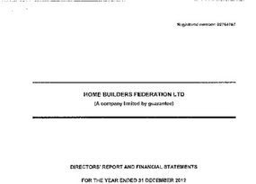 Home Builders Federation Ltd - 2012 Signed accounts