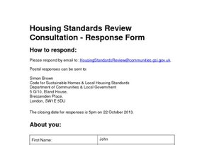 5 - Housing Standards Review - Response Form