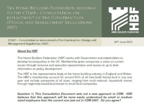 HBF Response - CD261 Consultation on replacement of the Construction  Design and Management Regulations 2007