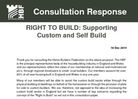 HBF Consultation Response  Right to build