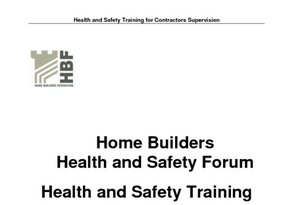 Health and Safety Training for Contractors Supervision - Rev 1 January 2013