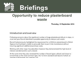 Opportunity to reduce plasterboard waste briefing