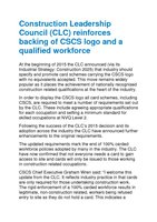 CSCS representation of Construction Leadership Council position