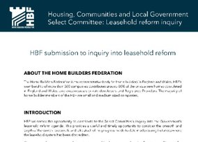 HBF submission - HCLG Select Committee Inquiry - Leasehold reform - September 2018