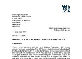 Mansfield Local Plan main modifications consultation 10 December 2019