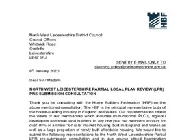 NW Leicestershire Partial Local Plan Review pre submission consultation 8 January 2020